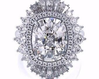 Harro Gem Moissanite Engagement Ring 3.25ct Long Cushion Cut Ring 1.05ct Diamonds Art Deco Cocktail Anniversary Ring Pristine Custom Rings