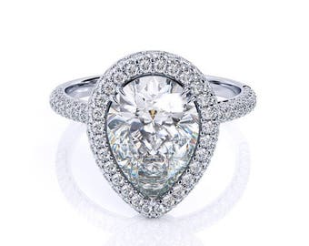 Pear Shape Moissanite Engagement Ring 2.10ct Pear Forever One Ring .63ct Natural Diamond Halo Anniversary ring Pristine Custom Rings