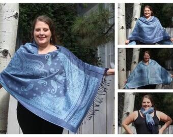 Blue Western Paisley Pashmina Poncho Shawl