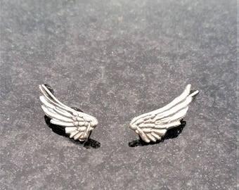 Sterling Silver Wings, Ear Crawler Earrings