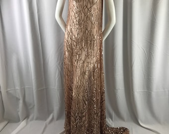 Dazzling light brown fashion tree emrboider with sequins on a mesh lace-prom-nightgown-decorations-dresses-fashion-sold by the yard