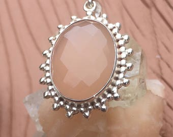 Natural Large Faceted Rose Quartz Silver Pendant - ~ 31mm x 25mm