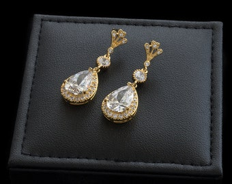 Bridal Earrings, Wedding Earrings, Rhinestone Earrings, Drop Earrings, CZ Earrings, Earrings, Dangle Earrings | ELOISE Gold