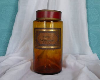 LARGE Antique French Amber Glass Apothecary Bottle -  French Amber Glass Pharmacy Jar with Red Lid - Amber Glass Chemist Jar - Pharmacy Gift