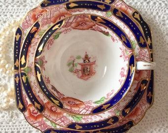 Antique Salon China Tea Cup Saucer & Plate Trio Amari Teacup