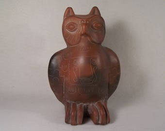 Terracotta Owl Bird Aztec Design     W116