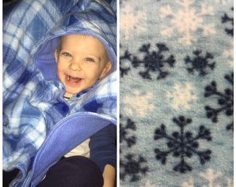 Car seat poncho, toddler poncho, fleece poncho, girl poncho, boy poncho, baby poncho, carseat poncho, toddler car seat poncho, snowflake