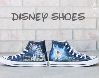 Customizable Disney Hand Painted Converse Shoes - Tinkerbell - Cinderella's Castle - Disneyland - Disneyworld - Magic-Imagination Has No Age