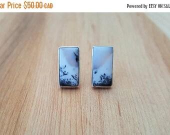 15% OFF SALE Merlinite Dendritic Opal 925 Sterling Silver Stud Earrings / Stone Earrings / Merlinite /  Rectangle Earrings / Natural Stone /
