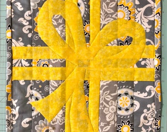 """Grey and yellow table runner reversible 12"""" x 21"""""""