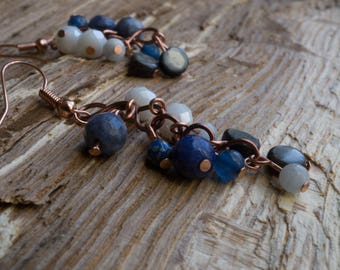 Aquamarine, Shell, Sodalite and copper drop earrings
