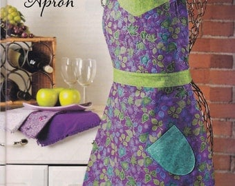 Reversible Turquoise Purple Full Apron Handmade