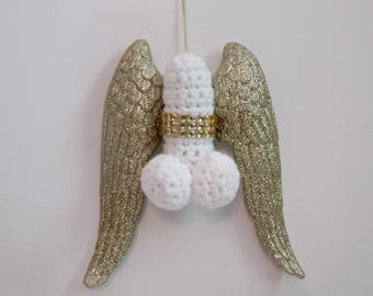 WINGED PENIS,  penis angel, xmas cock, adult xmas, ornament swap, penis ornament, angel penis, bad santa, x rated ornament, gay xmas, mature