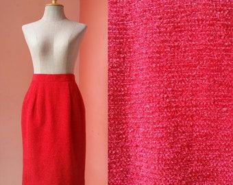 Womens Skirts Summer Skirt Casual Skirt Retro Skirt Hipster Skirt Day Skirt Street Style Vintage Red Wool Pencil Skirt Mini XS Extra Small