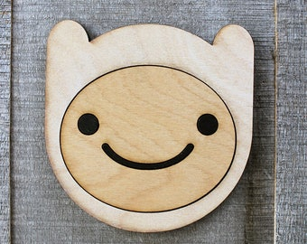 Finn the Human Wood Coaster | Rustic/Vintage | Hand Stained and Glued | Adventure Time