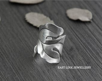 925 silver vintage style curled leaf statement ring size adjustable by East Link Jewellery