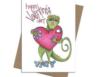 Southwest Lizard Big Heart | Valentine Card | SKU C3210