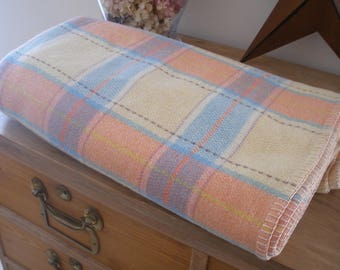 Vintage Welsh wool blanket, carthen