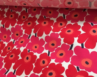 SALE 2 yards Marimekko Stiff Red Mini Unikko cotton, Finland, for baskets, book covering etc