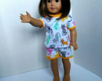 "18"" doll pajamas made to fit like American girl doll clothes, kitty cat pajamas, summer pajamas for dolls such as American girl and others"