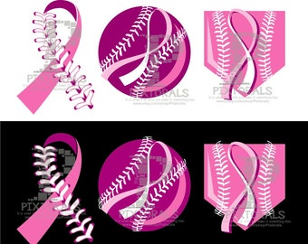 Breast Cancer Ribbon in Baseball Laces, Breast Cancer Awareness, Breast Cancer Ribbon