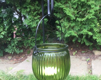 Set of 2 green glass hanging or tabletop tea light lanterns