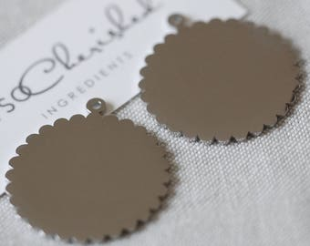 Stainless Steel Scalloped Tags, Blank tags for engraving, 30mm