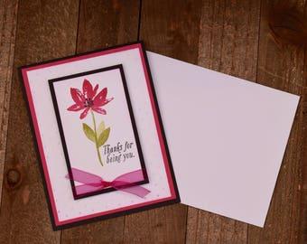 Thank You Card, Floral Thank You Card, Thank You Card For Her, Handmade Thank You Card, Floral Greeting Card