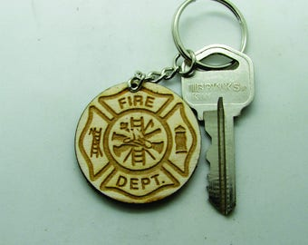 Key Chain, Fire, wood Keyring, Keychain  Made to Order.