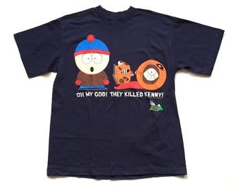 Vintage 1997 south park t shirt comedy central 90s south park tee shirt nos deadstock they killed kenny stan cartman large unisex top tee