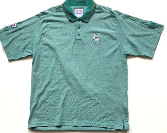 Vintage Miami Dolphins nfl Football STARTER Short Sleeve Button Up Polo Golf Shirt All Over Print XL Extra Large 100% Cotton