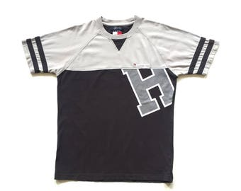 90s Tommy Hilfiger big h t shirt tommy big flag shirt size S small vintage tommy jeans short sleeve tee gray black striped