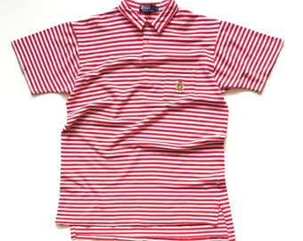 Ralph Lauren Polo Crown Crest 1992 Short sleeve button up polo golf shirt collared Striped mens medium Red White p wing Cookie patch uni