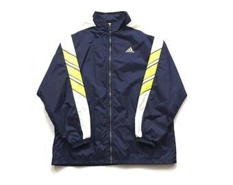 Vintage Adidas Deadstock Trench Style Wind breaker jacket size men's large Full zip Lime Green 3 Stripe accents on sleeve zipper pockets new