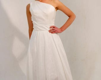 Summer Wedding Sale Custom made 'Chloe' one shoulder prom dress asymmetric hem train hourglass wedding, evening or bridesmaid gown