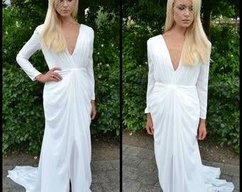 Plunging long sleeve wedding dress / backless bridal gown / simple classic wedding gown / plunge deep v neckline / chiffon wedding /'Helena'