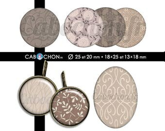Taupe • 60 Images Digitales RONDES 25 20 mm OVALES 18x25 13x18 mm page sheet cabochon bijoux liberty london taupe prune digital marron brun