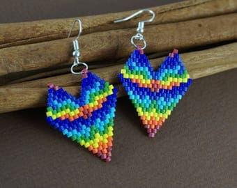 Tiny heart earrings Daughter Gift|For|Her Rainbow jewelry Beaded earrings Heart shape earrings Colorful earrings Rainbow colors Fun earrings