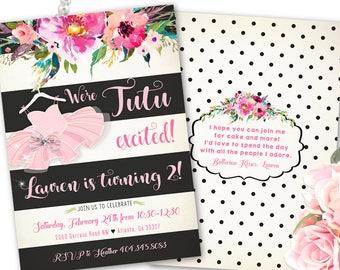 Ballerina Birthday Invitation, Ballerina Birthday Invitations, Girls 3rd Birthday, 4th Birthday, Ballerina Party Invite, Printable / Printed