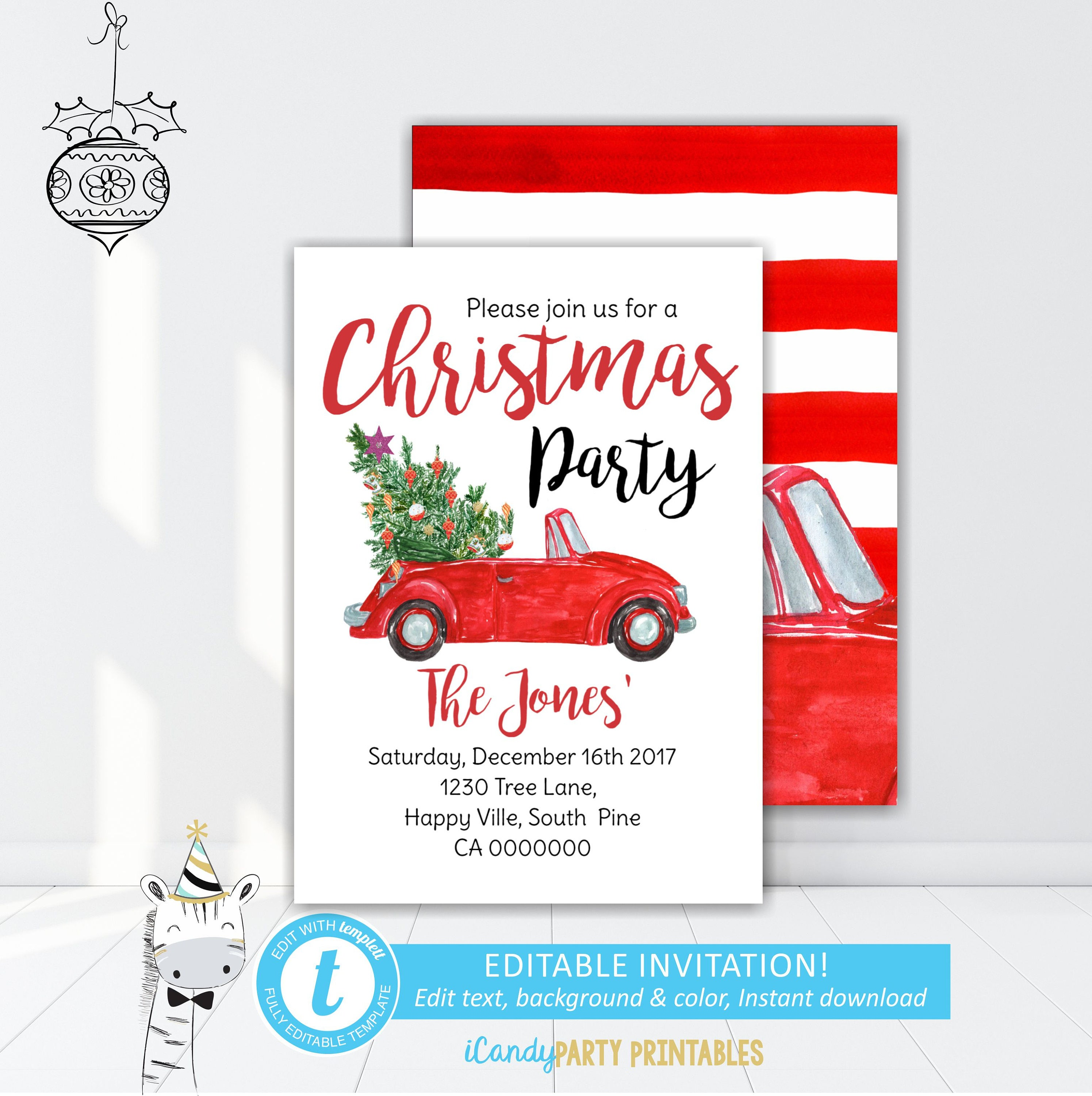 Christmas Party Invitation, Red car and tree invite, Christmas ...