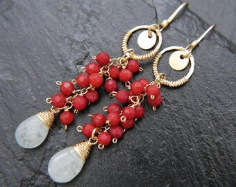 Pearl Earrings, Freshwater Pearl, Gold Filled Earrings, Citrine Earrings, Aquamarine Earrings, Cluster Earrings, Vine, Bohemian Wedding,