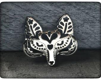 Fox Pendant, Silver Fox Charm, Tibetan Fox Head Pendant Necklace