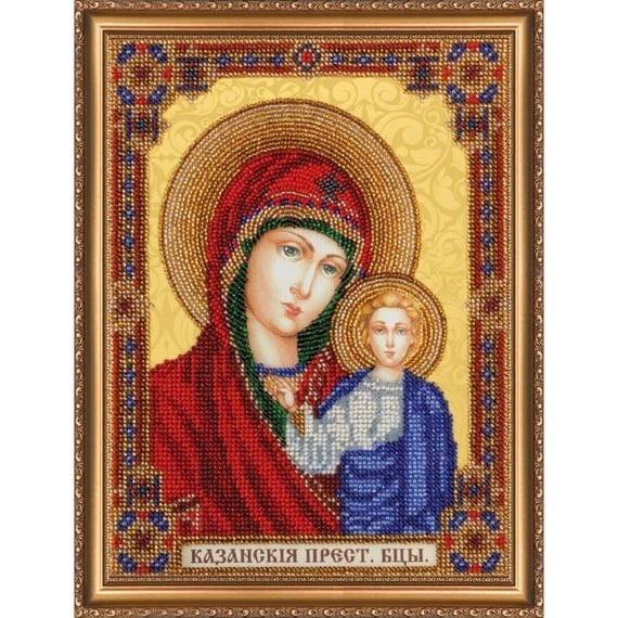 Orthodox Icon Mother Of God Beaded Embroidery Kit Beadwork