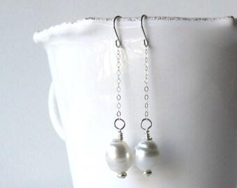Pearl Dangle Earrings, South Sea Pearl Sterling Silver Earrings, Tahitian Pearl Earrings, South Sea Pearl Earrings, Pearl Dangle Earrings