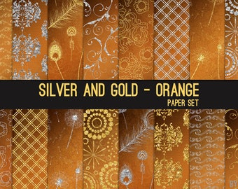 Silver and Gold on Orange Digital Paper Silver Glitter 12x12 Textures, Glitter, Foil, Metallic, Backgrounds, Instant Download