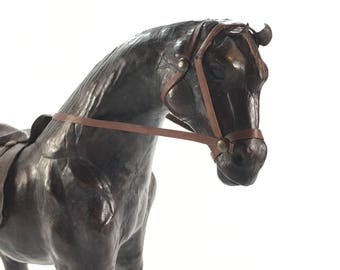Carved and Patinated Leather Horse Sculpture, Western Leather Horse Statue, Pony Statue