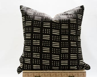22x22  Black Authentic African Mudcloth Pillow Cover, Boho Mudcloth Pillows, Boho Chic Pillow Cover, Lines and Dots Designs, Arrows, Lines