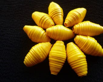 """Set """"Sun"""" of 10 oval paper beads yellow, ideal for design earrings"""