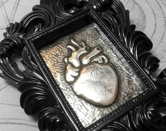 Anatomical Heart : hand embossed anatomical repoussé metal wall art
