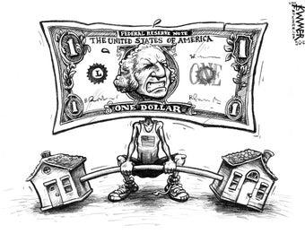 Dollar Weakling Cartoon Signed Print